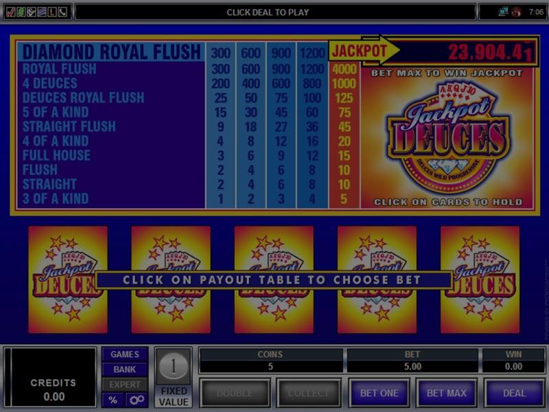Captura de pantalla de Jackpot Deuces tragaperras de Microgaming