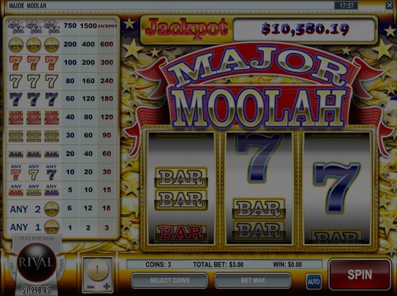 Captura de pantalla de Major Moolah tragaperras de Rival Gaming