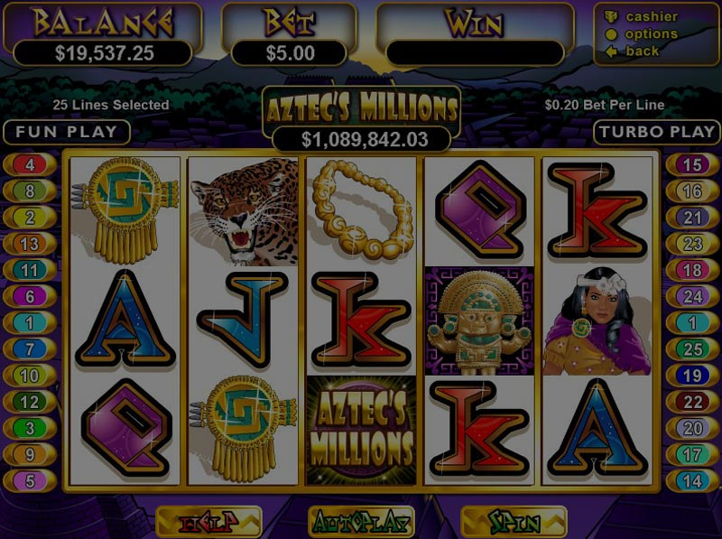 Captura de pantalla de Aztec's Millions tragaperras de RTG