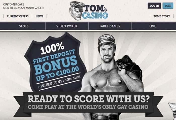 Captura de pantalla de la página de inicio de los casinos de Tom