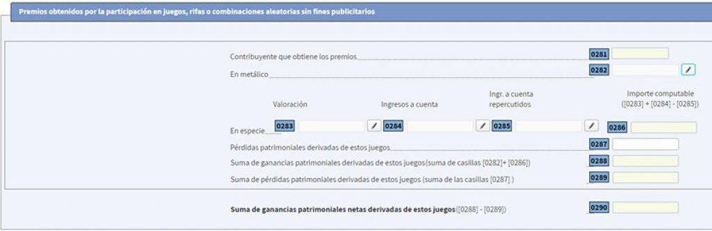 formulario para declarar ganancias de apuestas o casino online